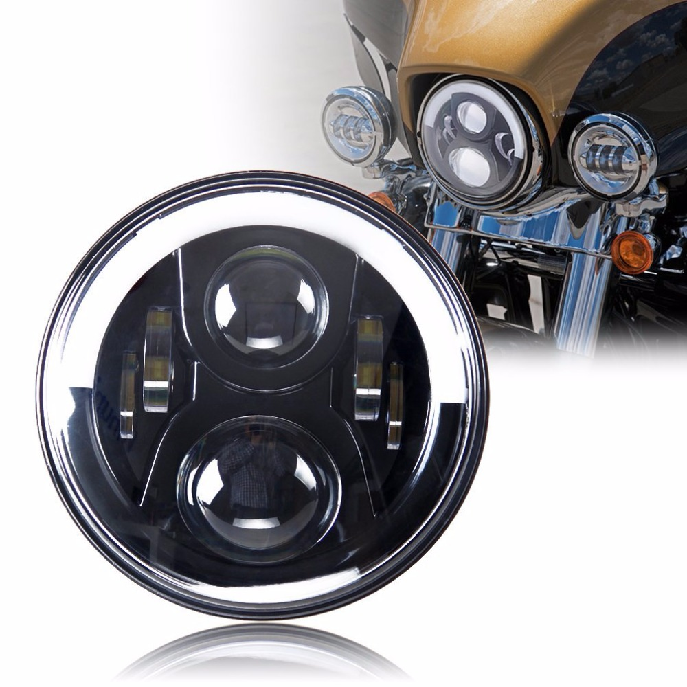 LED 7 inch Headlight Lamp 7 Projector Daymaker 60W Angel Halo Eye Headlight Bulb For Harley Davidson accessories 7 60w round car led headlight with halo angel eye
