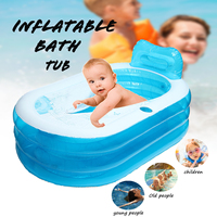 1Pcs Transparent Blue Portable Warm Bathtub Inflatable Folding Bath Tub With Electric Air Pump Blow Up For Spa Adults Kids