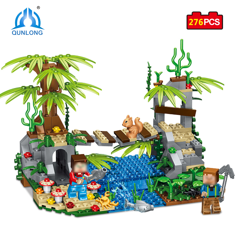 Qunlong Toys Mine World Suspension Bridge Model Building Blocks Compatible Legoe Minecrafted City Educational Toys For Kids loz mini diamond block world famous architecture financial center swfc shangha china city nanoblock model brick educational toys