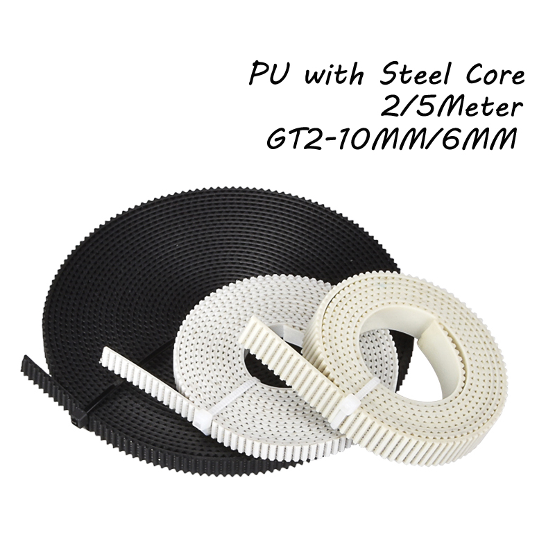 2/5Meter PU With Steel Core GT2 Belt Black White 2GT Timing Belt 6/10mm Width Reinforce Open Belt For 3D Printer