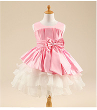 6 Color Free shipping Fashion Baby Girls Clothing sleeveless ball gown Dresses Bow Formal Dress princess