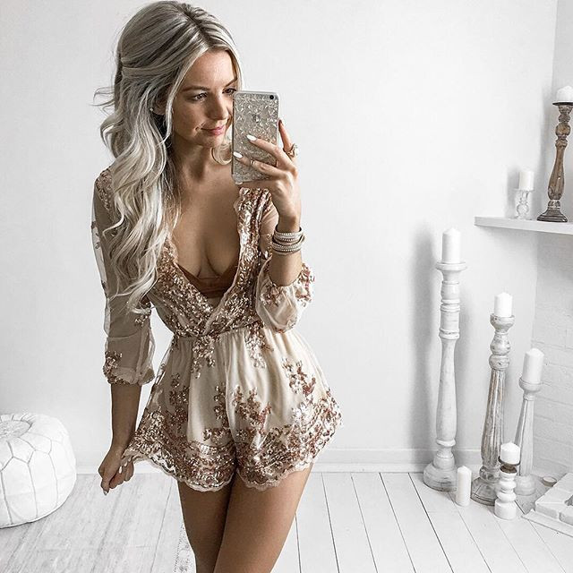 c7d4cd726692 Rose Gold Sequin Playsuit Plunge V-neck Long Sleeves Sexy Women Tassel  Elegant Club Party Waist Jumpsuit