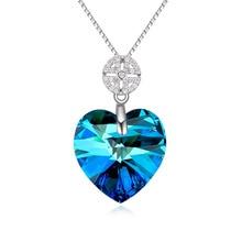 2015 Plata de La Joyería 925 de Plata de ley Del Corazón Collares de Cristal de Swarovski de Las Mujeres Joya Fina 5 Color