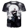 Com raiva de Cabelo Branco Kaneki camiseta 3D Galaxy Tees Homens Mulheres Harajuku Camiseta Clássico Anime de Tóquio Ghoul camiseta Hip Hop topos