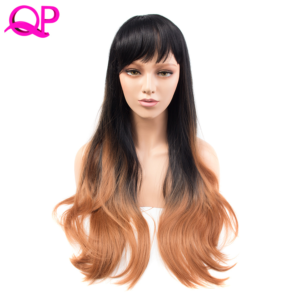 Qp hair 26 270g Long Synthetic Hair Wig Adjustable Ombre Grey Body Wavy Hair Wigs