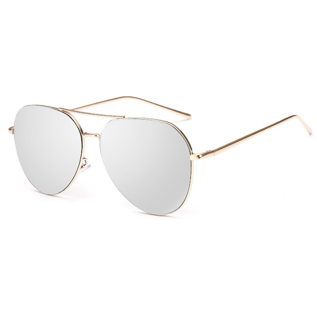 Flat Top Lens Mirror Aviation Sunglasses Women Sun Glasses Lady Men Metal Frame Eyewear High Quality Female