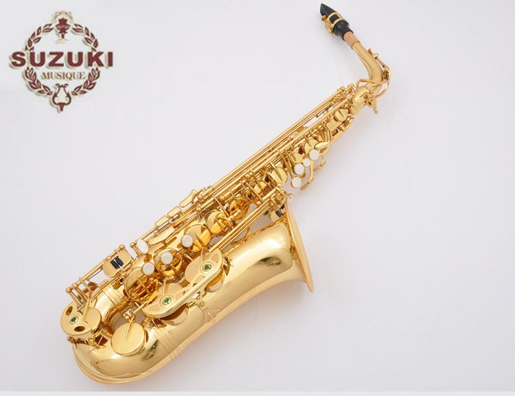 New Arrival SUZUKI Alto Brass Saxophone High Quality Eb Tone Gold Lacquer Sax E-flat Sax With Mouthpiece Case Free Shipping brand suzuki eb alto saxophone as 500n drop e saxophone surface to electroplating black nickel gold the paint sax instrument
