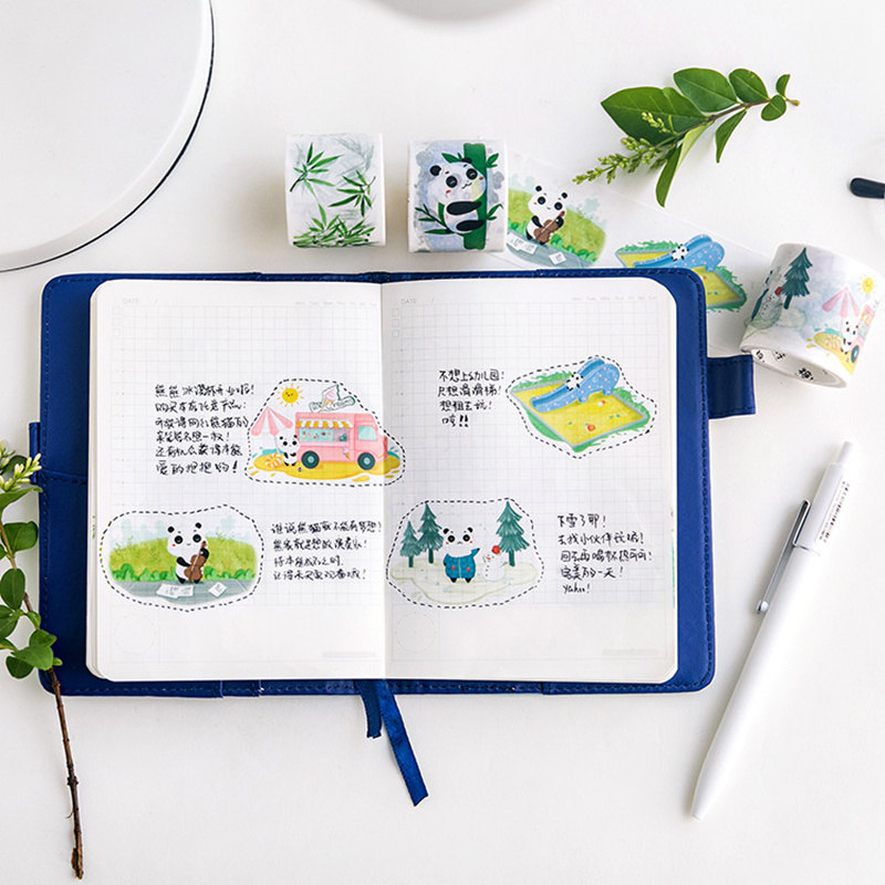 4 pcs Kawaii  Panda paper washi tape Lovely panda bamboo masking Cute Kids gift Stationery items school supplies FJ475
