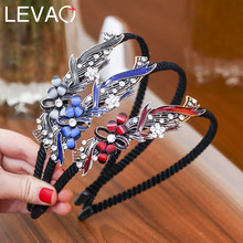 Levao 2019 Fashion Soild color Hairband Hairpin Water Drill Hand Wave Hoop Bands for Girls Hair Accessories(China)