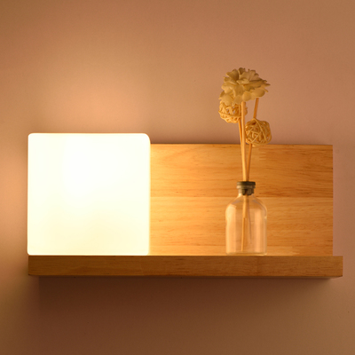 Bedside <font><b>Wood</b></font> <font><b>Wall</b></font> <font><b>Lamp</b></font> Storage Rack E27 Socket Bed Room Night Light Frosted Glass Shade Modern <font><b>Nordic</b></font> Style Home Lights image