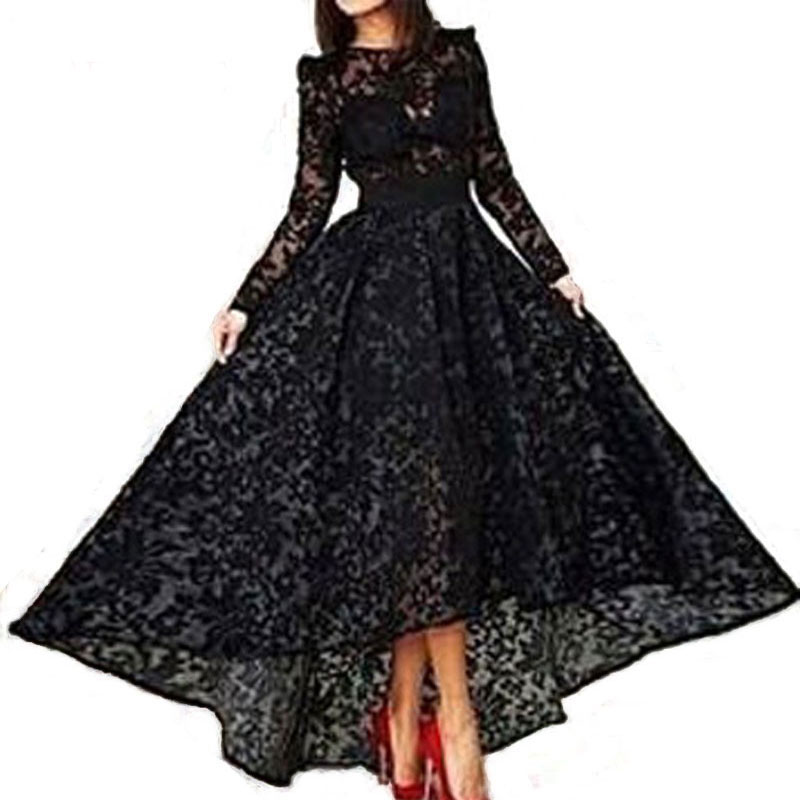 New Arrival Evening Dresses Formal Vestido De Noiva Sereia Prom Party Gown Long Dress Black Lace Full Sleeves O-neck High-low