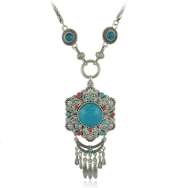 Vintage gem stone silver chain boho jewelry necklaces pendants vintage gem stone silver chain boho jewelry necklaces pendants from india gypsy statement necklace turkish aloadofball Gallery