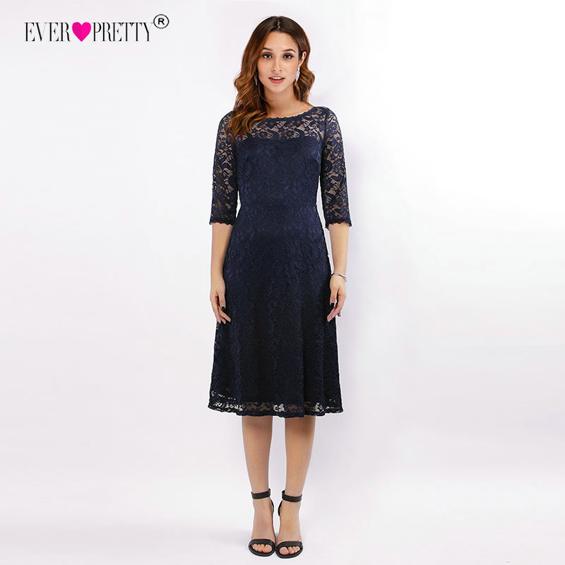Navy Blue Lace Cocktail Dresses Ever Pretty EZ07665NB See Through Half Sleeves  Knee Length vestidos mujer 2018 cocktail Elegant 2 EZ07665-S. 3 EZ07665NB-A  ... 8830d28fd0c2