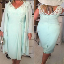 7f3302a6b60 YNQNFS MD161 Elegant Plus Size Mother of the Bride Dresses with Long Sleeves  Jacket Outfits Mint Party Guest Dress 2019