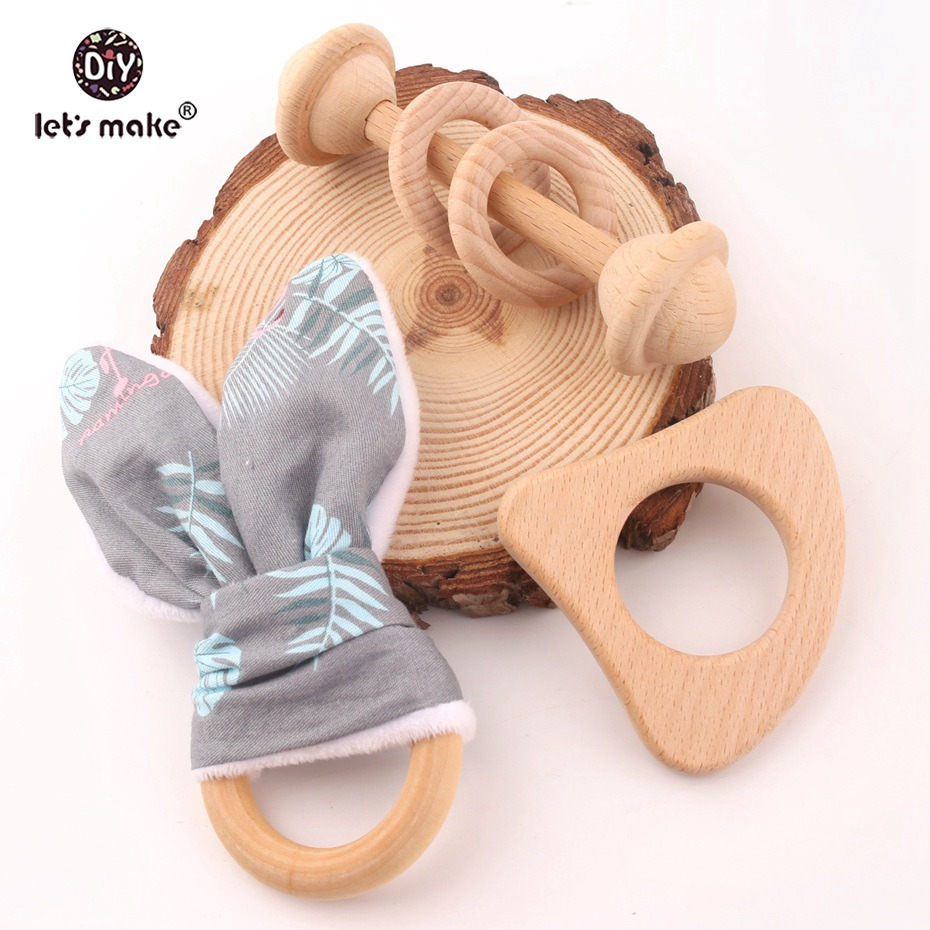 Let's Make Baby Wooden Toys 15pcs/5 Set Wood Teether Toys Organic Rattle Cotton Bunny Ear Beech Wood Rattles Music Rattles