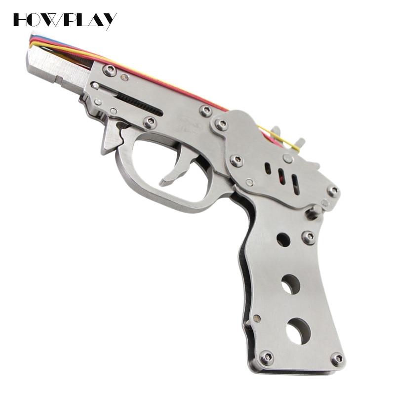 HowPlay rubber band gun Metal kids toy guns Folding 8 bursts Of Bullets Shoot toy gun boy toy gift toy pistol gun shooting game