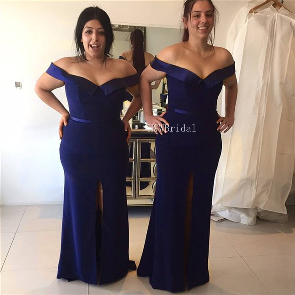 Navy Blue Mermaid   Prom     Dresses   Long Boat Neck Off The Shoulder Split Elastic Satin Simple Evening Gown 2019 Cheap Women   Dresses