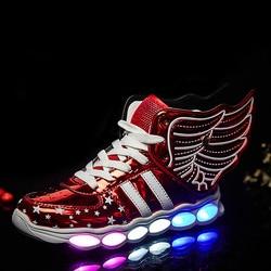 Czerwone buty dla dzieci światło Led świecące buty chłopcy dziewczęta USB ładowanie sportowe buty na co dzień buty Led usb skrzydło dzieci świecące tenisówki w Trampki od Matka i dzieci na