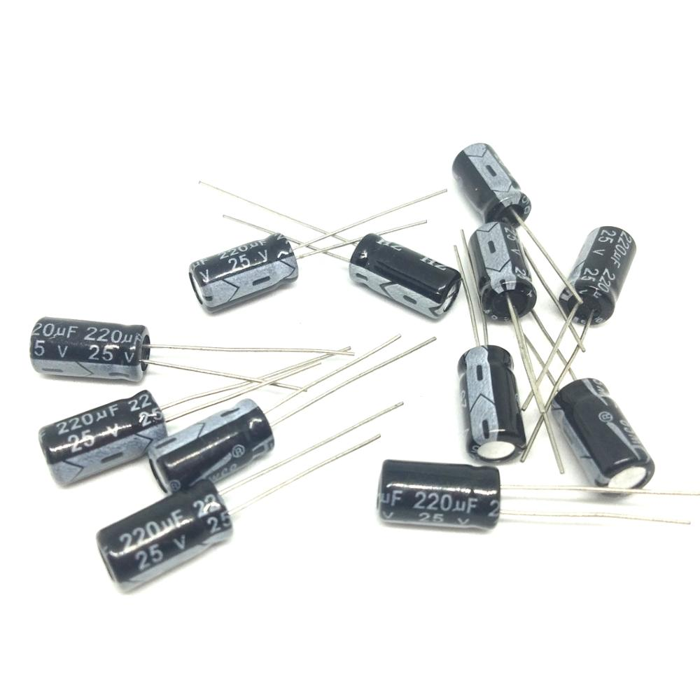 High quality 100pcs <font><b>220uF</b></font> <font><b>25V</b></font> 105C <font><b>25V</b></font> <font><b>220UF</b></font> Radial Electrolytic Capacitor 6.3*12MM ic ... image