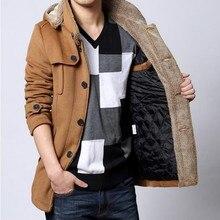 Winter Neue Marke Mode Herren Lange Mit Kapuze Pelz Fleece Graben Mäntel Jacken Warm Verdicken Woolen Parkas Mit Kapuze Gesteppten Mäntel