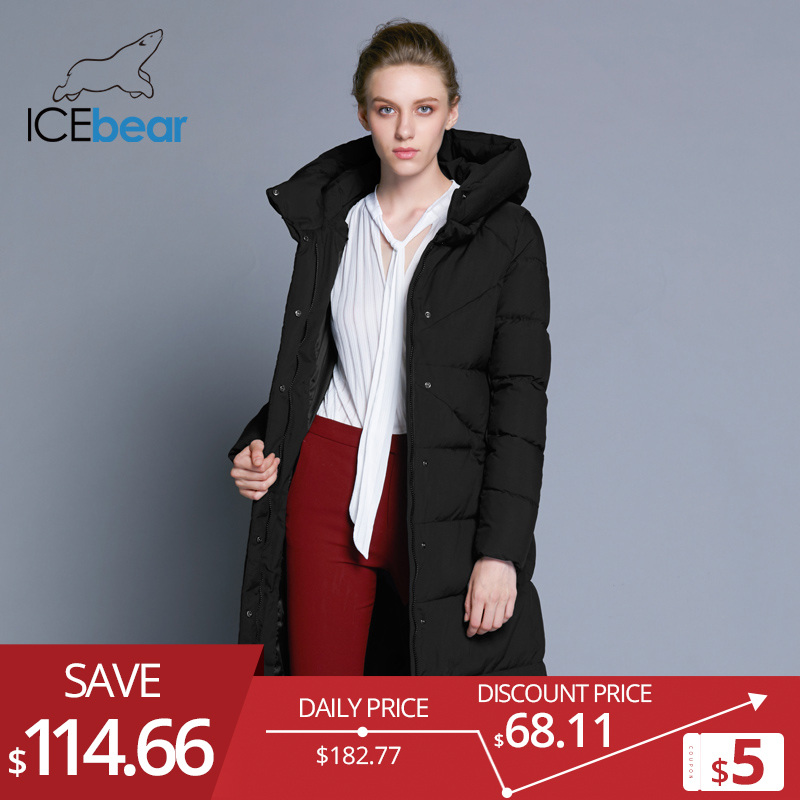 Icebear 2018 New Excessive High quality Ladies's Winter Jacket Easy Cuff Design Windproof Heat Feminine Coats Vogue Model Parka Gwd18150