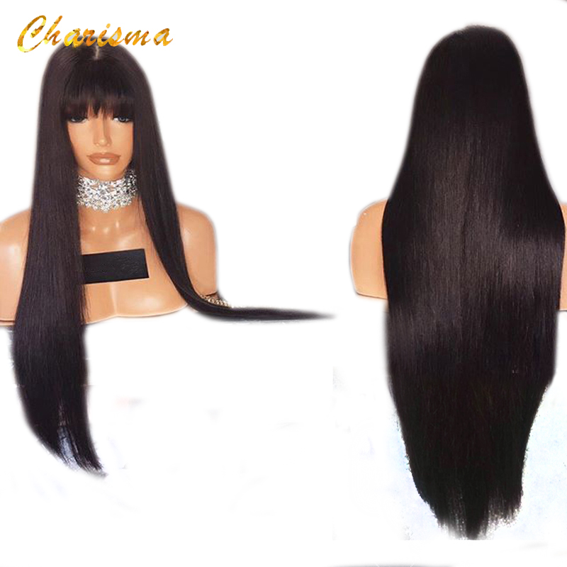 Charisma Long Silky Straight Synthetic Lace Front Wigs 26'' Heat Resistant 150% Density With Bangs Fringe Wigs For Black Women