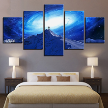 Art Painting HD Printed Canvas Poster Home Decor 5 PiecePcs Starry Sky Snow Mountain Framed Wall Living Room Modular Pictures