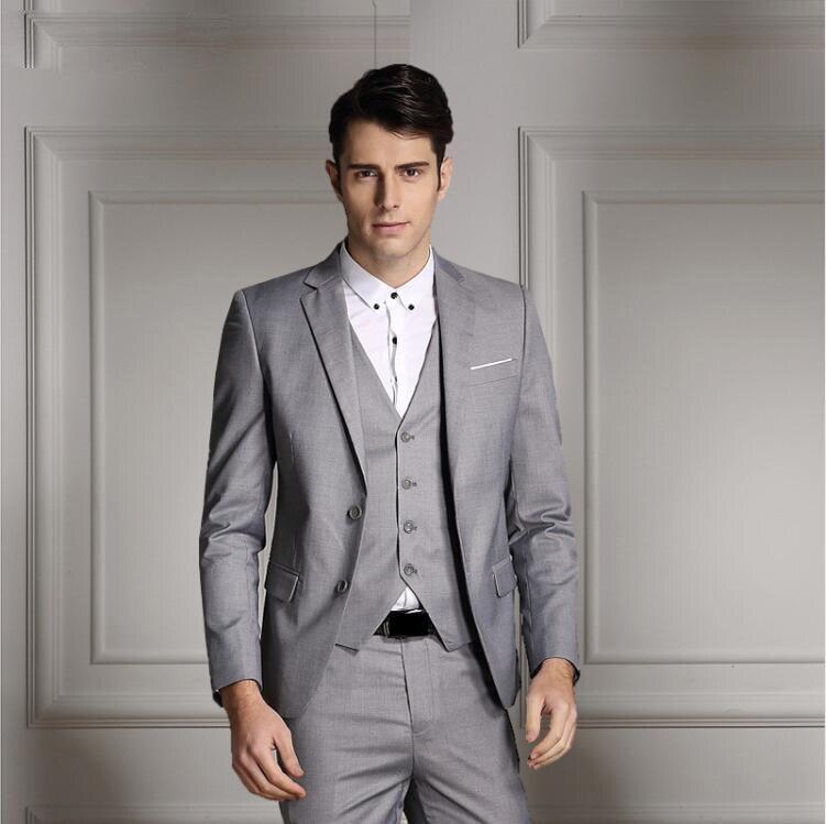 Rand moda masculina três peças conjunto de negócios casual fino ajuste ternos preto cinza azul real do noivo ternos de casamento para homem smoking - 2