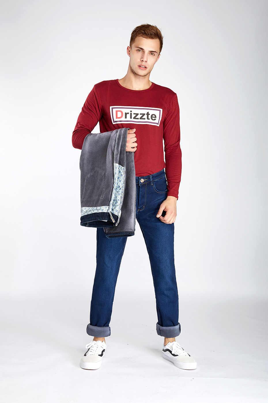 7efb7fcc843 ... Drizzte Mens Winter Fleece Jeans Flannel Lined Stretch Denim Jeans Slim  Fit Trousers Pants 33 34