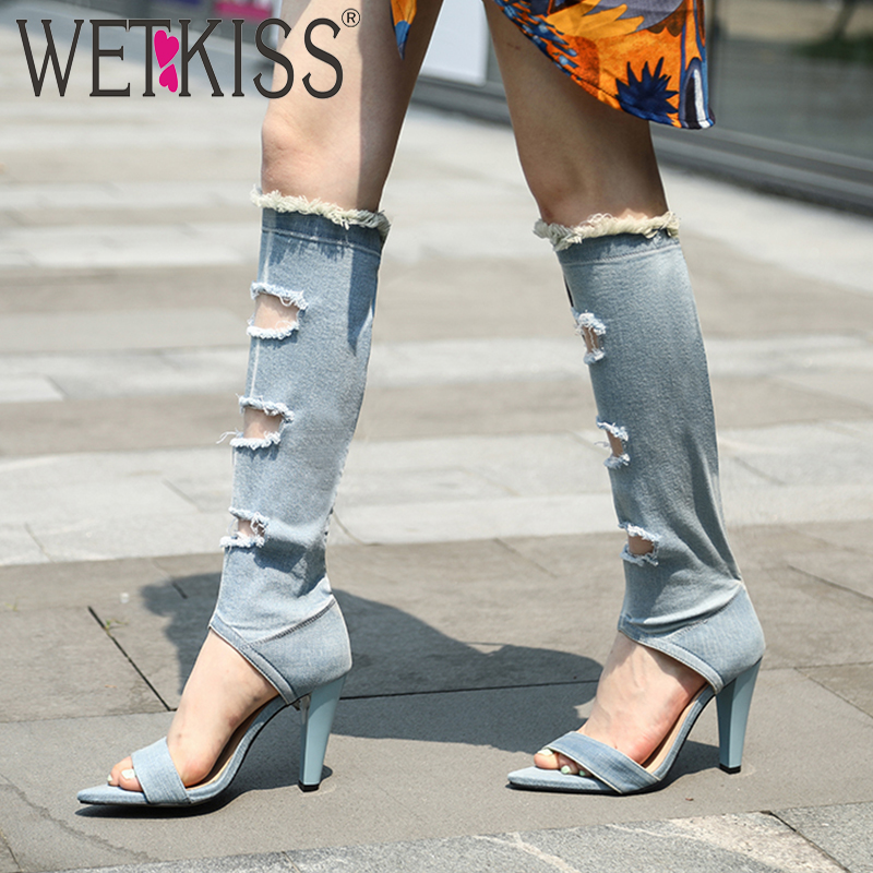 WETKISS Denim Knee High Boots Women Holed Summer Boots Sexy High Heels Shoes Female Pointed Toe Ripped Shoes Ladies 2019 NewWETKISS Denim Knee High Boots Women Holed Summer Boots Sexy High Heels Shoes Female Pointed Toe Ripped Shoes Ladies 2019 New