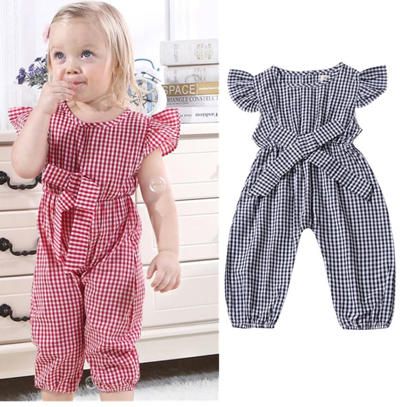 European style 2019 summer jumpsuits classic black and pink baby   rompers   fashion short sleeve baby girl clothes for kids dresse