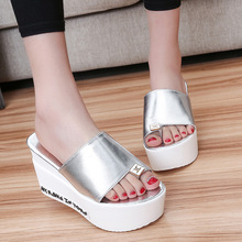 2016 New Summer Women Sandals Ladies Open Toe High Heel Platform Wedge Sandals Flower Fashion PU Leather Slide for Women Shoes