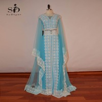 Вечерние платья 2018 sodigne Новая мода синий линия Роскошные Дубай аппликация исламский для Для женщин Арабский Платья для женщин марокканской
