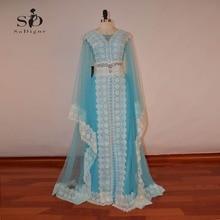Evening Dresses 2017 SoDigne New Fashion Blue A Line Luxury Dubai Applique Islamic for Women Arabic Dresses Moroccan Kaftan