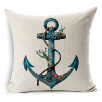 Square Linen Cushion Cover Sailing Boat Anchor Map Printed Decorative Pillow Covers Kussenhoes Capa De Almofada Coussin BZT-70