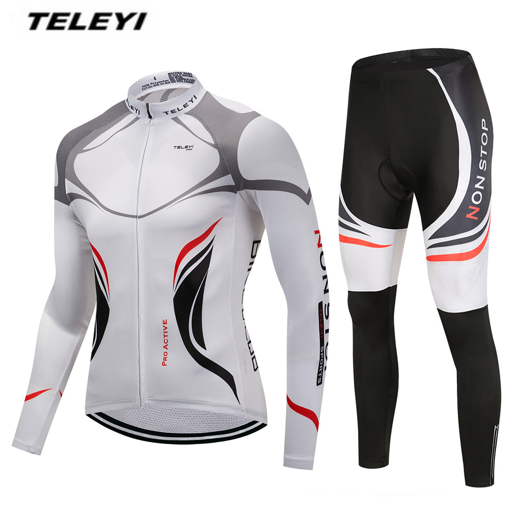 MTB Bike jersey Bib Pants Set Mens Cycling clothing Suit Ropa Ciclismo Maillot trouser Riding Long Sleeve Shirt Breathable
