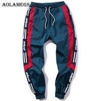 Aolamegs Sweatpants Patchwork Letter Track Pants Men Pencil Hip Hop Elastic Waist Fashion High Steet Loose Joggers Streetwear