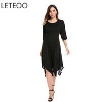 LETEOO Sexy Lace Dress Women Summer Beach Wear Clothing O Neck Flare Short Sleeve Irregular Hem