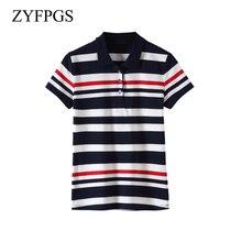 ZYFPGS 2019 New Female TShirt Summer Lapel Printed Cotton Short-Sleeved Casual Shirt Slim Women Fashion Tops Big Plus Size L0514