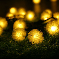 Cotton Ball String Lights LED Solar Fairy Lights For Bedroom Party Decoration Wedding LED Garland Christmas