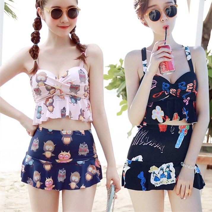 Women Swimsuits Kawaii Printed Two-piece Suit 2017 Girls Swimwear Cute Hot spring Sandy beach Female Swimming wear