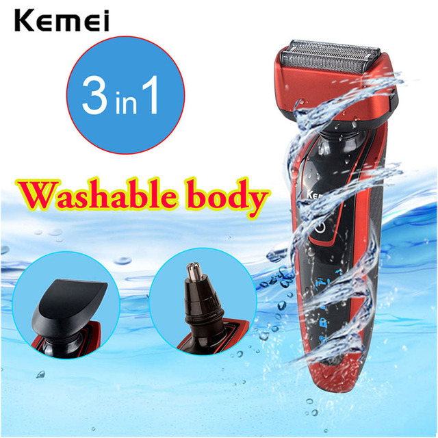 Kemei 3-in-1 Rechargeable Men's Electric Shaver Nose Trimmer Sideburns Cutter IPX7 Waterproof Hair Removal Tools Kit face care