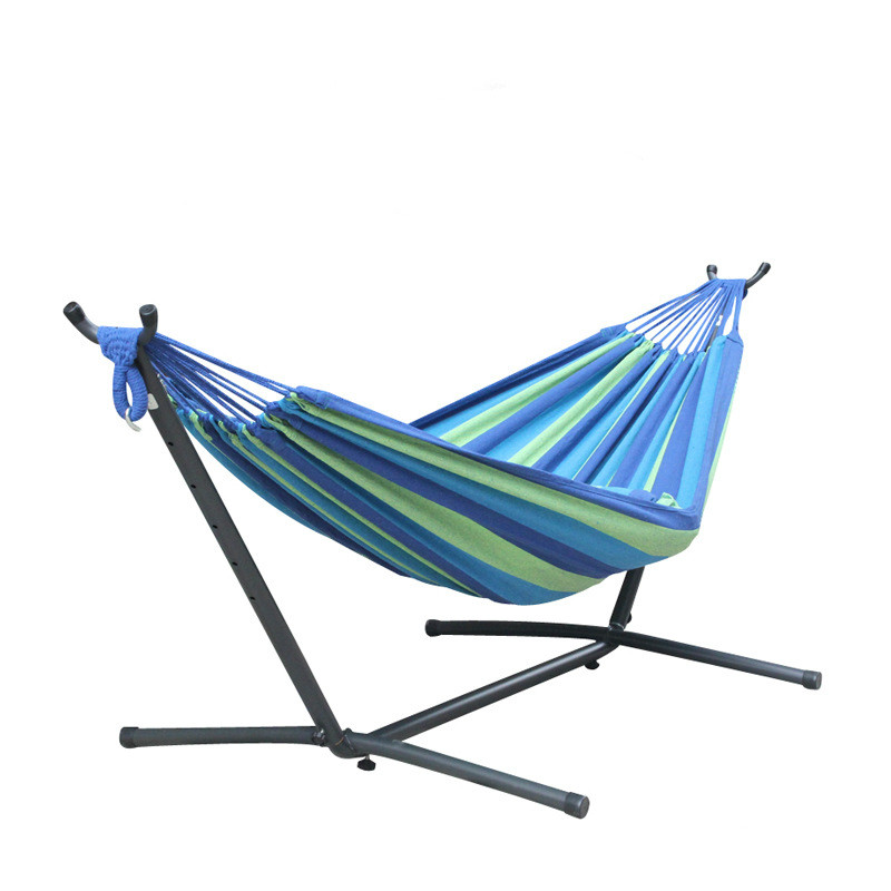 Fashion Hammock With Iron Shelf Cotton Canvas Bracket Outdoor Garden Casual Hammock Camping Hanging Chair Bed High Quality Swing