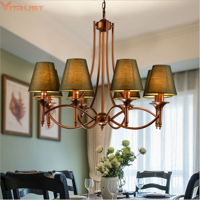 Vitrust Modern Chandeliers Home Hanging Lamps Lighting Iron Ceiling Dining Living Room Vintage Retro Lusters Led  6 8Coffee Bar luster led hanging lamp light modern chandelier - title=
