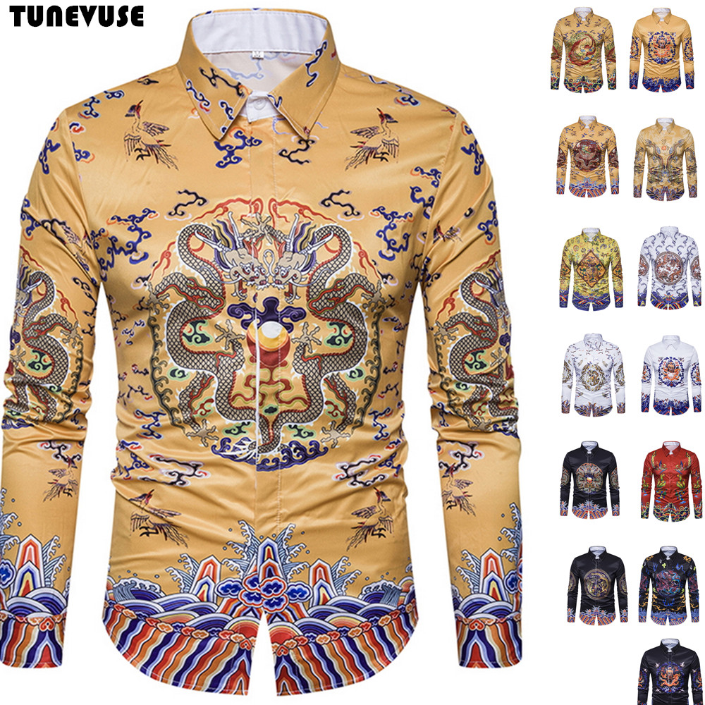 3D Dragon Print Shirt Men 2018 Fashion Chinese Emperor Style Mens Dress Shirts Long Sleeve Slim Fit Casual Button Down Men Shirt ...
