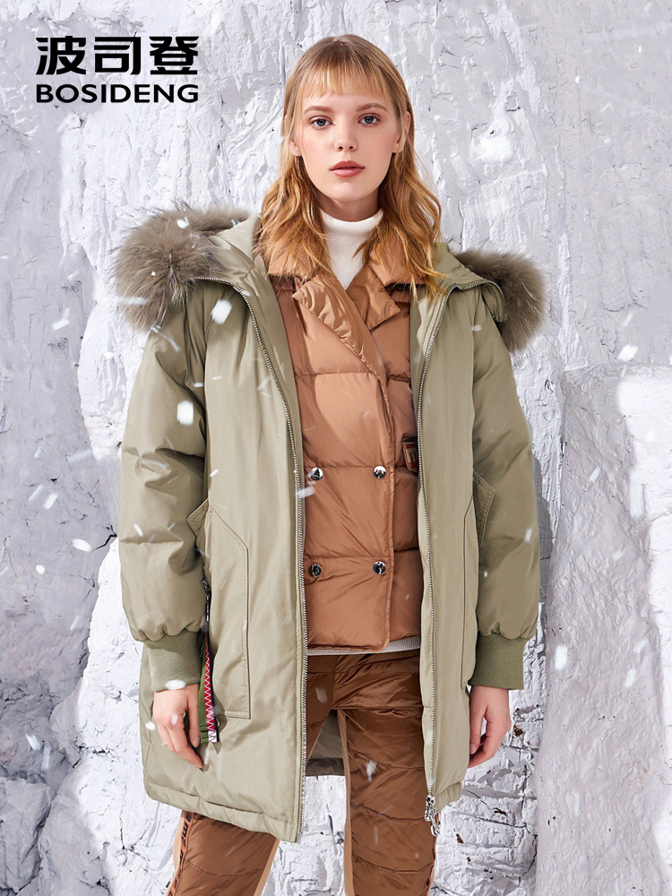 BOSIDENG women's   down   jacket 2018 winter new Japanese Crane embroidery parka real fur hooded thicken long   down     coat   B80142544DS