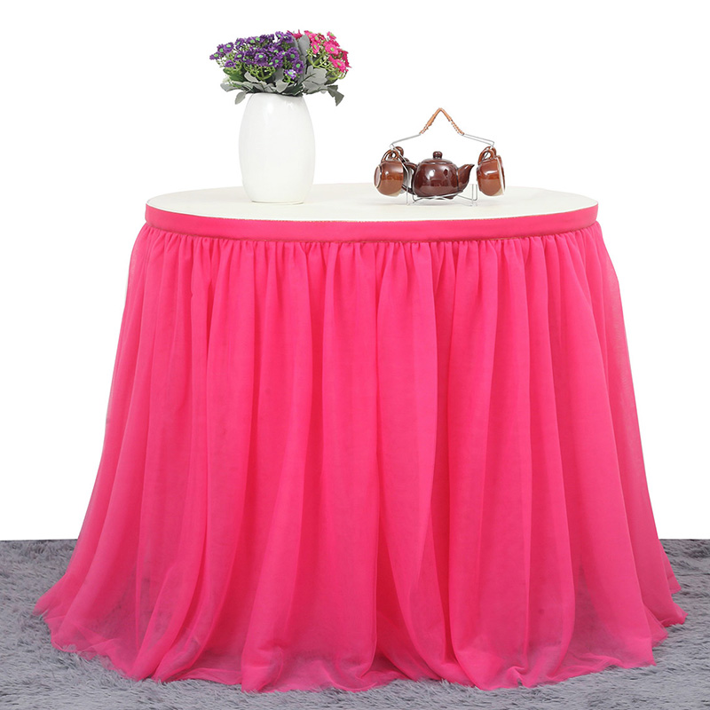 Top Sale Solid Color Table Skirts Dinner Table Decoration Luxury Table Tutu Skirt Wedding Baby Shower Birthday Party Decor