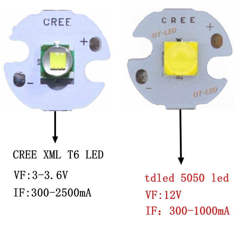 5PCS CREE XML XM-L T6 LED U2 10W WHITE Warm White High Power LED 5050 12V Emitter Diode with 12mm 14mm 16mm 20mm PCB for DIY светодиод cree xlamp xml xml t6 10w 20 platine xm l t6