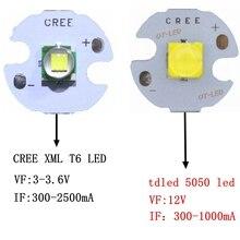 Diode émetteur haute puissance 12V, avec bricolage 12mm 14mm 16mm 20mm, 5 pièces, CREE XML XM L T6 LED U2 10W, blanc chaud LED, 5050