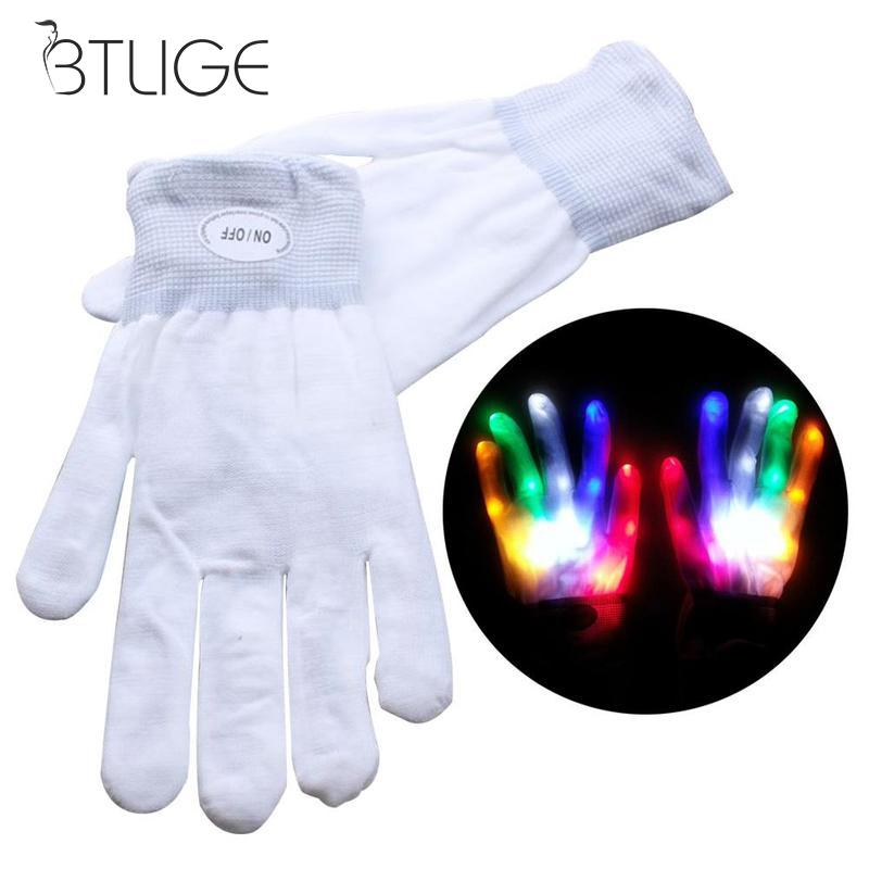 Apparel Accessories 1pc Led Light Glowing Gloves Rainbow Led Gloves Unisex Light Up Glowes Halloween Stage Costume Holiday Events Party Gloves Modern Design